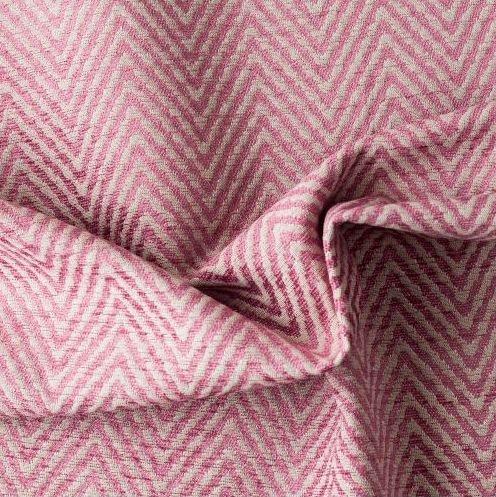 tecido Para Sofá e Estofado Chenille Versalhes Rosa e Branco - ves 36