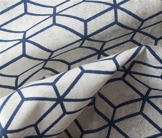 Tecido para Sofá e Estofado Impermeabilizado Azul e Bege Geométrico - AST- 33