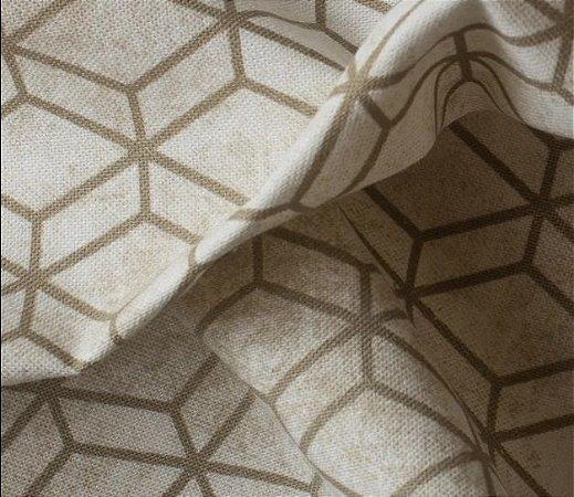 Tecido para Sofá e Estofado Impermeabilizado  Bege e fendei Geométrico - AST- 30