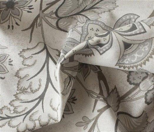 Tecido para Sofá e Estofado Impermeabilizado Cinza Floral - AST-  41