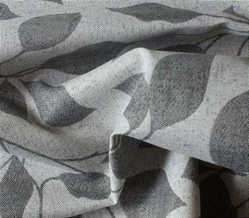 Tecido para Sofá e Estofado Impermeabilizado Cinza Floral - AST-  45