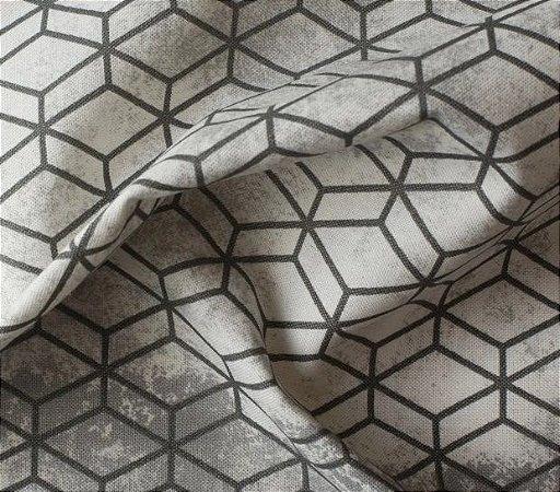 Tecido para Sofá e Estofado Impermeabilizado  Cinza Geométrico- AST-  42