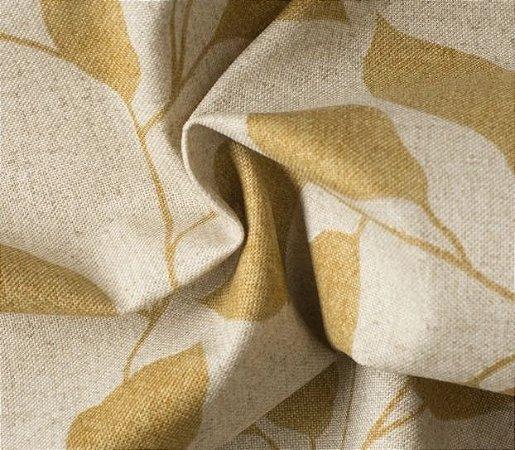 Tecido para Sofá e Estofado Impermeabilizado Mostarda Folhas - AST-  25