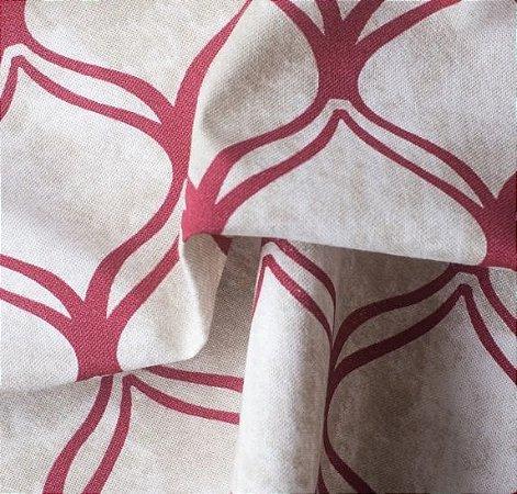 Tecido para Sofá e Estofado Impermeabilizado Vermelho e Bege Geométrico - AST- 02
