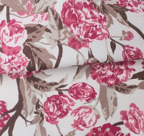 Tecido para Sofá e Estofado Impermeabilizado Vermelho, Marrom e Bege Floral  - AST- 06