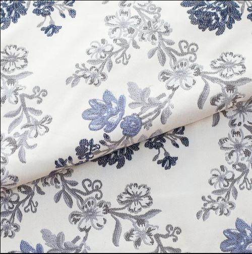 Tecido para Sofá e Estofado Jaquard  Marinho e Azul - Ferr - 34