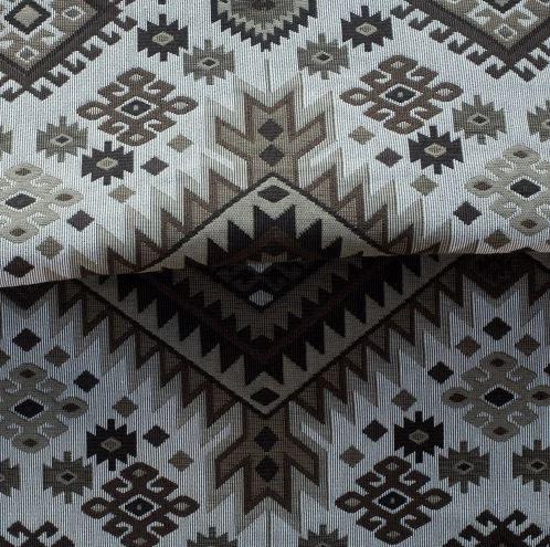 Tecido para Sofá e Estofado Jaquard Marrom Bege claro e branco - Ferr - 43