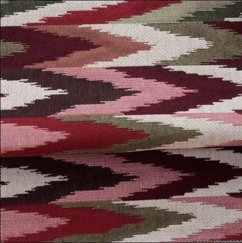Tecido para Sofá e Estofado Jaquard Vermelho verde e rosa - Ferr - 45