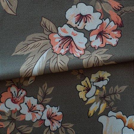 Tecido para Sofá e Estofado Veludo Floral Verde - MARSE 28