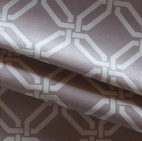 Tecido para Sofá e Estofado Veludo Geométrico bege - MARSE 20