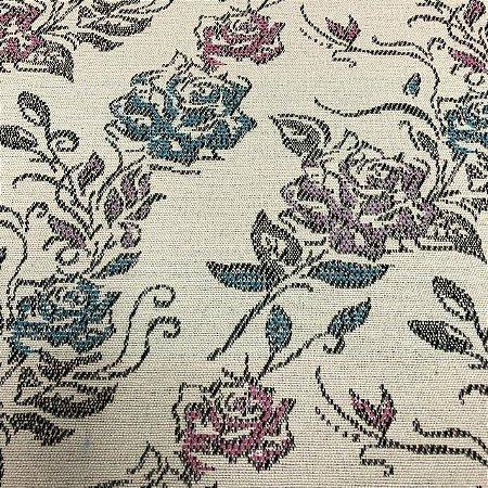 Tecido Para Sofá Jacquard Estampado Flores Rosa- Évora 06