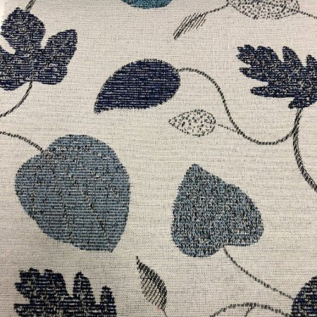 Tecido Para Sofá Jacquard Estampado Folhas Azul- Évora 27