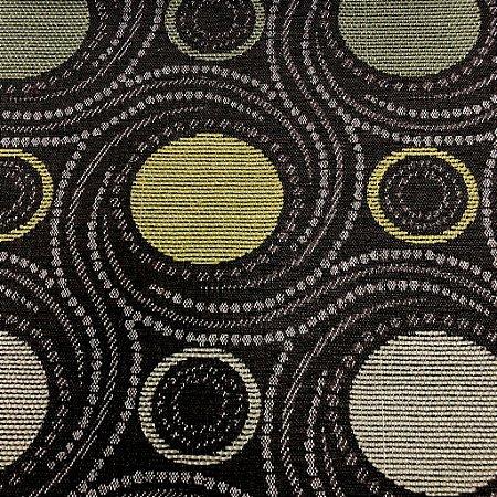 Tecido Para Sofá Jacquard Fundo marrom Geométrico Verde- Évora 53
