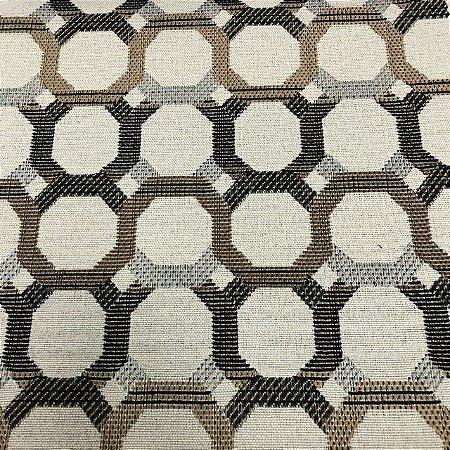 Tecido Para Sofá Jacquard Geométrico Gradil Marrom e Dourado- Évora 18