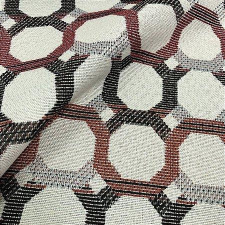 Tecido Para Sofá Jacquard Geométrico Gradil Marrom e Vermelho- Évora 26