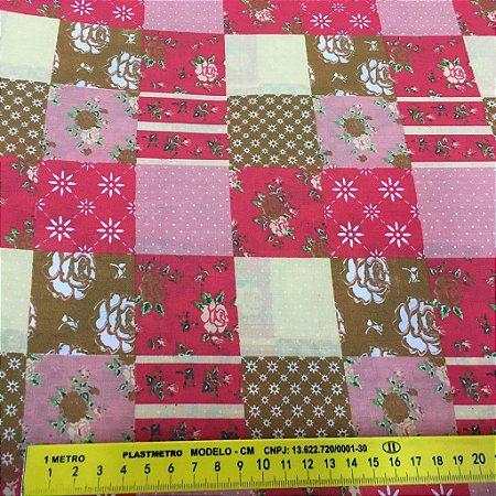 Tecido Tricoline Chita Patchwork Quadriculado Rosa com Flores - Gramado 86