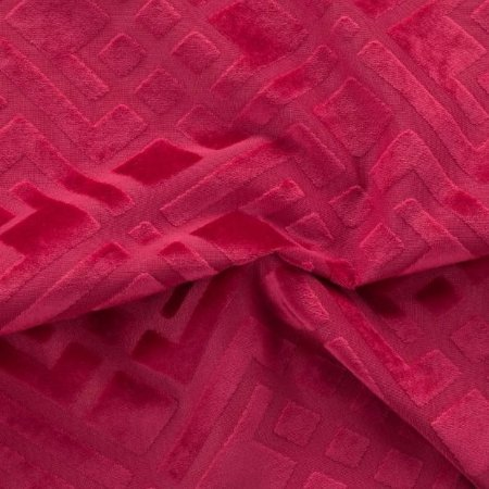 Tecido Veludo Alto-Relevo Geométrico Vermelho - Inc 05