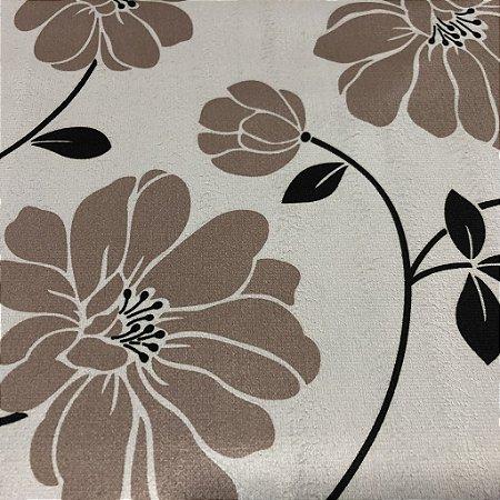 Tecido Veludo Estampado Fundo Bege com Flores Bege Escuro– Califórnia 10