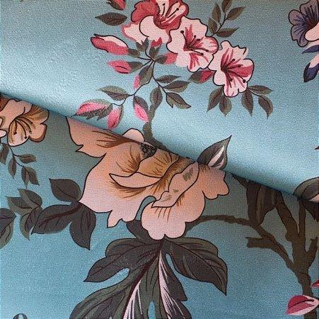 Tecido Veludo Floral fundo Toffany - Mar 06