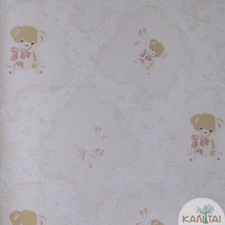 Papel de Parede Grace 3 Borboleta e Urso Baby Fundo - 3G204401R