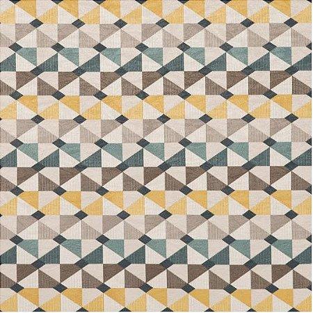 Tecido Jacquard Impermeabilizado Cataento Cinza-Amarelo - Marb 24
