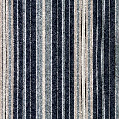 Tecido Jacquard Impermeabilizado Edik Listardo Azul-Bege- Marb 39