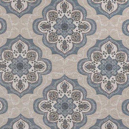 Tecido Jacquard Impermeabilizado Haboni Azul-Bege- Marb 41