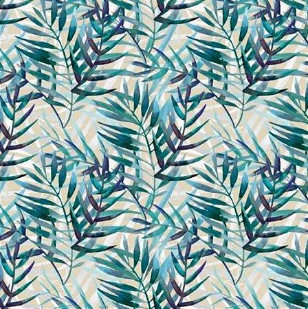 Tecido para Moveis Herbel Azul- Bege-Verde floral - Acquablock 01