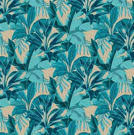 Tecido para Moveis Dracena Floral Bege-Verde- Acquablock 04