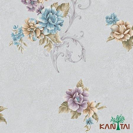 Papel de Parede Moda Em Casa 3- Flores e Arabescos Com Fundo Cinza - MD702301R