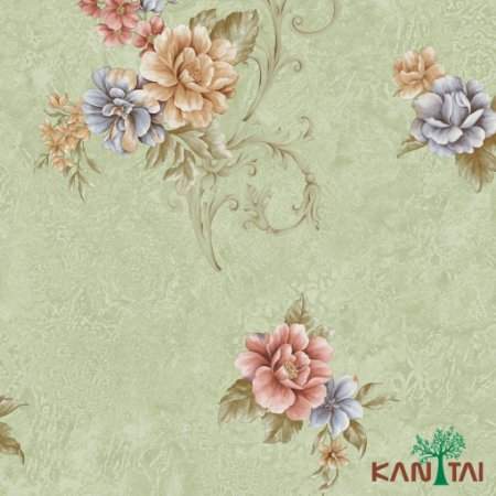 Papel de Parede Moda Em Casa 3- Flores e Arabescos Com Fundo Verde Claro - MD702302R