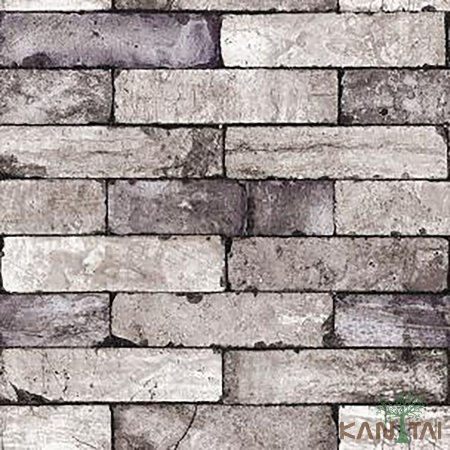 Papel de Parede Stone Age 2 - Tijolo Cinza e Violeta Velho- SN604503R