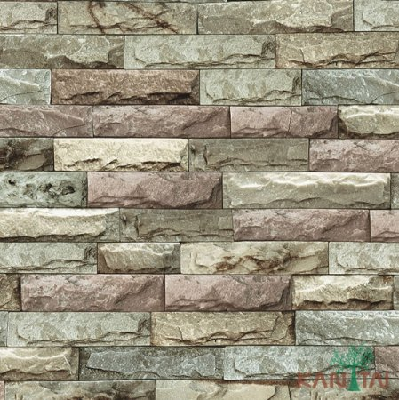 Papel de Parede Stone Age - Tijolo Pedras - Rose, bege e cinza - SN600101R
