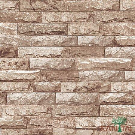 Papel de Parede Stone Age - Tijolo Pedras - Marrom Claro - SN600102R