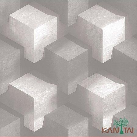 Papel de Parede Stone Age - Cubos 3D Branco -  SN600401R