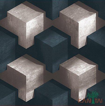 Papel de Parede Stone Age - Cubos 3D Branco e Adriático Escuro - SN600402R