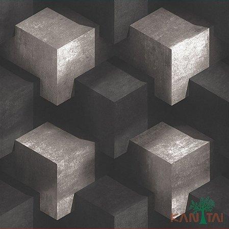 Papel de Parede Stone Age - Cubos 3D OffWhite e Preto Fosco - SN600403R