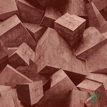 Papel de Parede Stone Age - Cubismo 3D Vermelho Queimado - SN601304R
