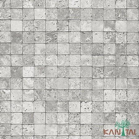 Papel de Parede Stone Age - Quadrados - Branco- SN601901R