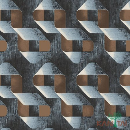 Papel de Parede Stone Age - Laços Textura de madeira - Prata e Marrom - SN602501R