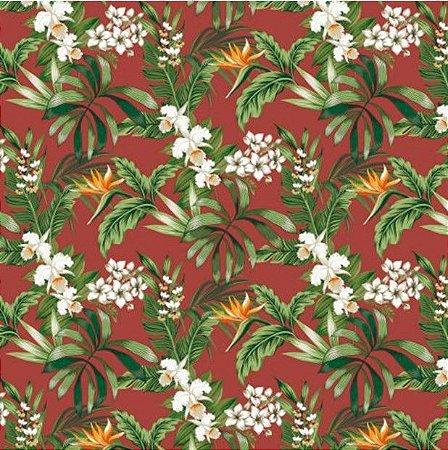 Tecido para Moveis Florais Terra -Verde Floral- Acquablock 39