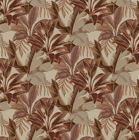 Tecido para Moveis Dracena Marrom bege folhas- Acquablock 42