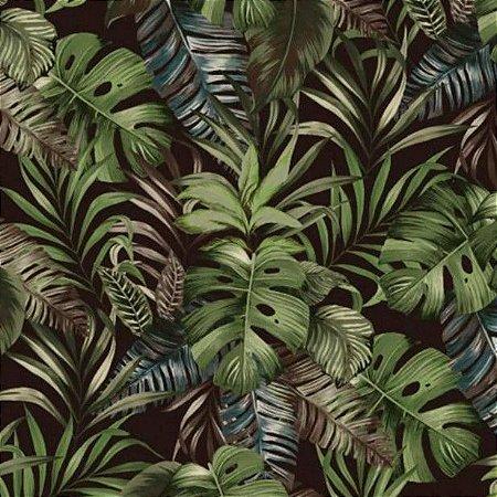 Tecido para Moveis Maranta Preto Folhas Verde- Acquablock 54