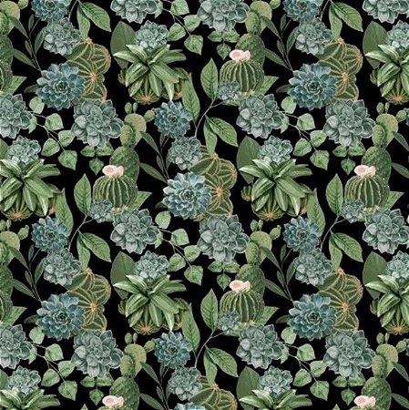 Tecido para Moveis Terrario Preto Folhas Verde- Acquablock 56