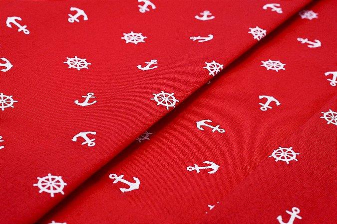 Tecido Tricoline Estampado Âncora e Leme Fundo vermelho 100% Algodão com 1,50 metros de largura - 2997