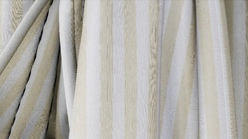 Tecido para Cortina American Gorgurinho Shantung Listrado Cru - Largura 2,90m - AME-13