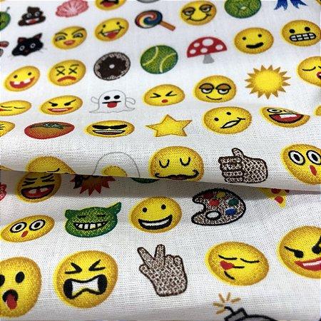 Tecido Tricoline 100% Algodão Emojis com 1,50 de largura - 2335