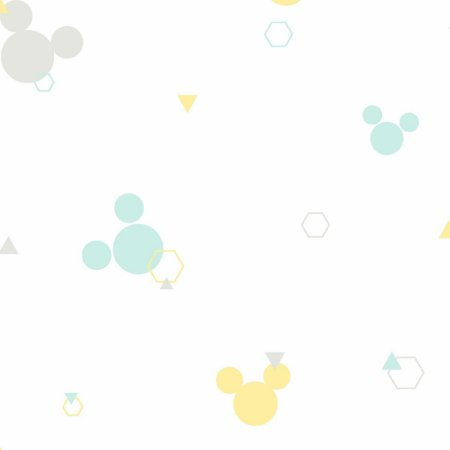 Papel de Parede Mickey Geometrico Cinza Verde Amarelo- DI0928A