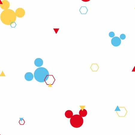 Papel de Parede Mickey Geometrico Amarelo Azul Vermelho DI0930A