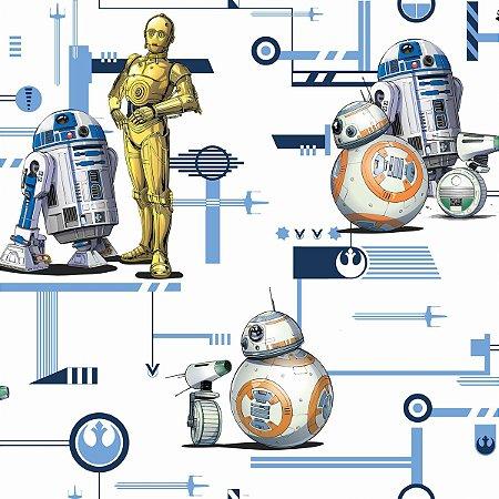 Papel de Parede Star Wars R2-D2 e C-3PO Colors - DI0948A